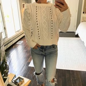 A.N.A white fringe studded cable knit sweater